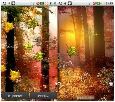 Fall Golden Diamond Leaves - Живые обои для Android